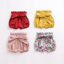 F Girls Summer Soft Cotton Bow Wood Ear Bread Bloomers Floral Plaid Print Shorts Bloom Pants 0-24M Lovely Newborn Baby Clothes(China)
