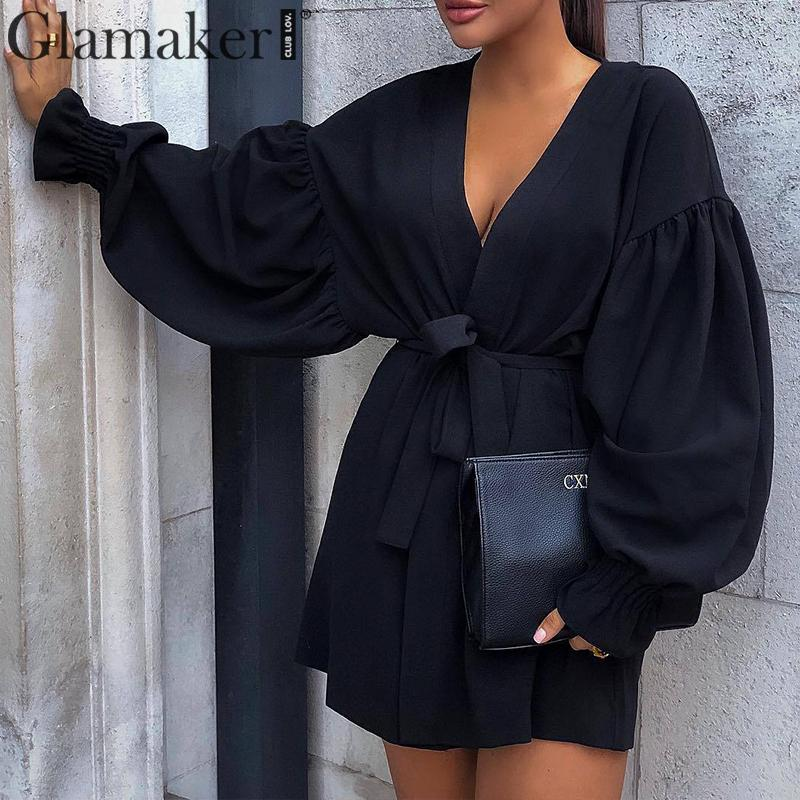 Glamaker Black V-neck Office Wear Bandage Dress Elegant Sexy A Line Lantern Sleeve Short Dress Loose Fashion Club Autumn Dress