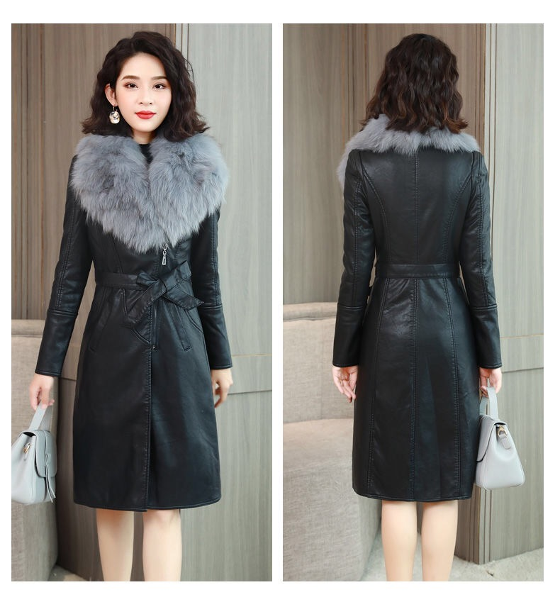 H1f4dd5d5f97440938c06fbb759aede63k Vangull Women's Leather Jacket for Winter 2021 New Plus Velvet Warm Slim Big Fur Collar Long Leather Coat Female Outerwear M-4XL