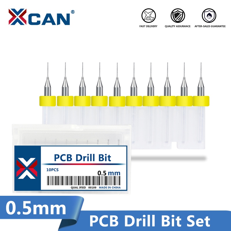 XCAN 10 stks / set 0.5mm Carbide PCB Boren Mini CNC Boor Bit Set Voor Printplaat Boren