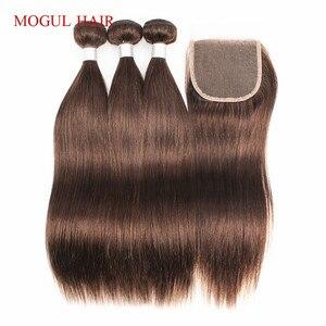 Image 5 - MOGUL HAAR Farbe 4 Schokolade Braun Gerade Haar Bundles mit Verschluss Peruanische Gerade Remy Menschenhaar Verlängerung 10 24 zoll