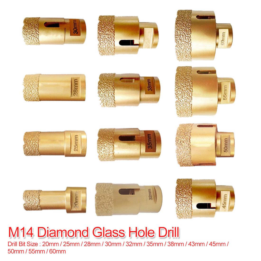 M14 Vacuum Brazed Diamond Drilling Core Bit Dry Diamond Drill Bit 20mm-60mm For Tile Hole Saw Stone Drill Bit Crown Drilling Bit