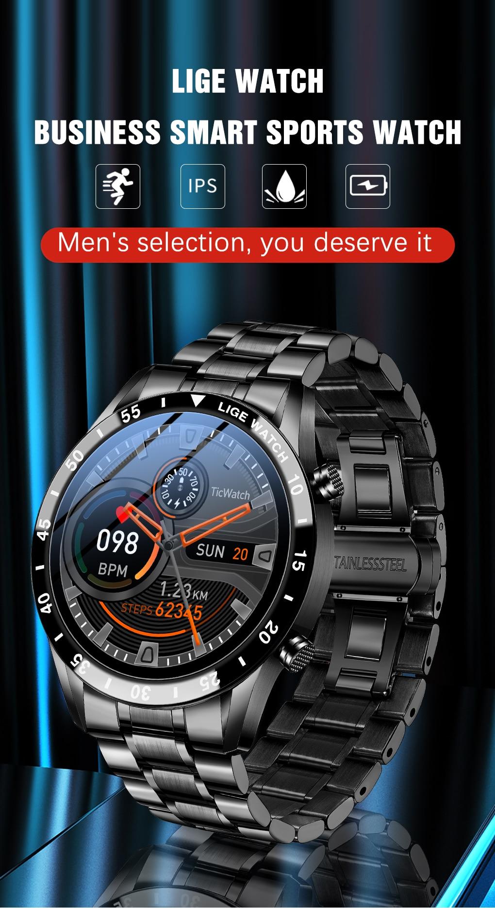 H1f4e1164094a4f42a69c1196db44d3e0y LIGE 2021 Full circle touch screen steel Band luxury Bluetooth call Men smart watch Waterproof Sport Activity fitness watch+box