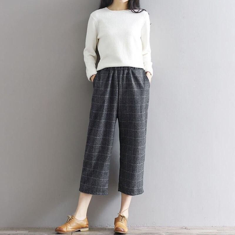 2019 Autumn Winter Elastic Waist Wide Leg   Pants     Capris   Female Vintage Plaid   Pants   Plus Size Woolen Wide Leg   Pants   Women S438