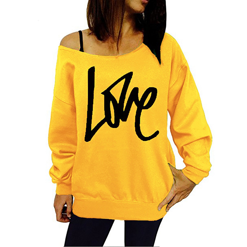LOVE Letter Printed Sweatshirt Women Off Shoulder Long Sleeve Pullovers Hoodies Autumn Winter Loose Tracksuit Casual Sweatshirts