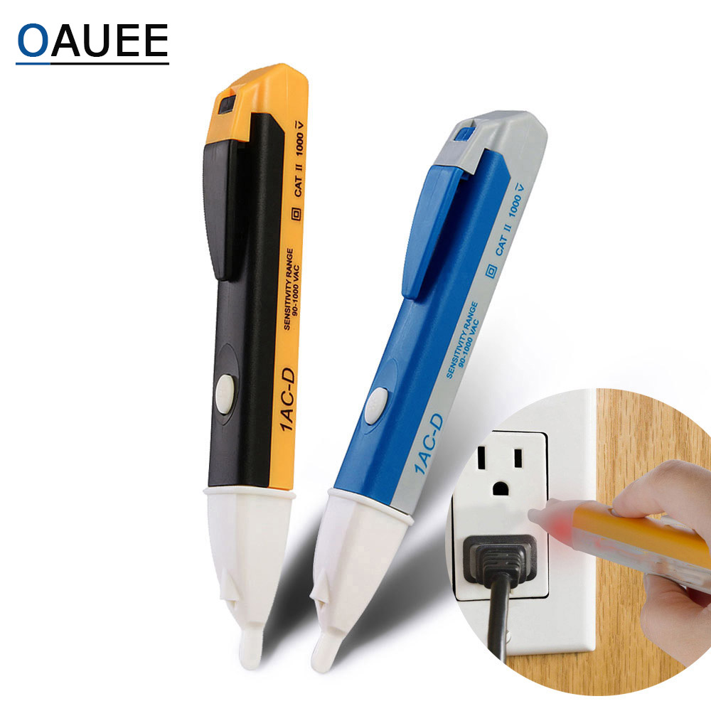 Oauee AC 110V 220V Voltmeter Voltage Probe Volt Meter Power Detector Tester Non-Contact Socket Wall Electric Indicator 90-1000V