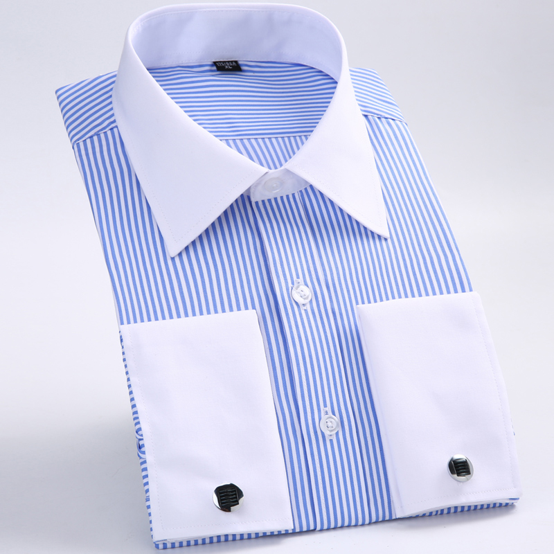 Dress Shirt Cufflink Long-Sleeve Classic Striped Men's Pocket French-Cuffs Single-Patch