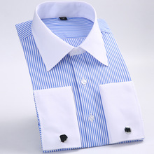 Men's Classic French Cuffs Striped Dress Shirt Single Patch Pocket Standard-fit Long Sleeve Wedding Shirts (Cufflink Included)