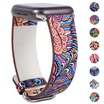Band for apple watch 5 4/3/2/1 38MM 40MM Floral Paragraph Leather Replacement Strap Apple iWatch Series 42 44MM
