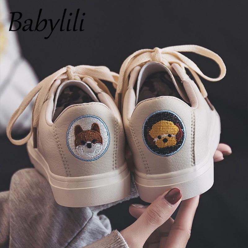 2020 Korean Women's Canvas Shoes Cute Cartoon Fashion Sneakers Casual Vulcanized Shoes Comfortable Classic Ladies White Shoes