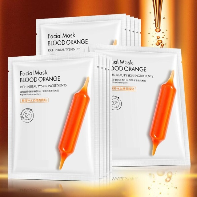 5pcs Blood Orange Hyaluronic acid soothing Mask High Moisturizing Firming Brightening Acne Treatment korean face mask 5