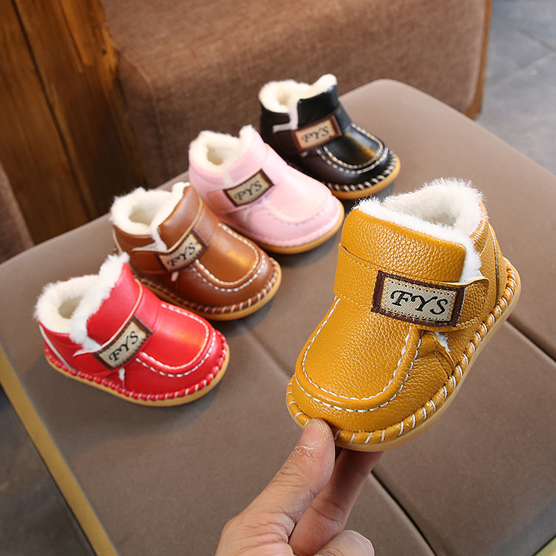 2019 Winter Baby Cotton Shoes Soft Bottom Toddler Shoes Plus Velvet Warm Boys And Girls Baby Snow Boots Toddler Boots Size 14-21