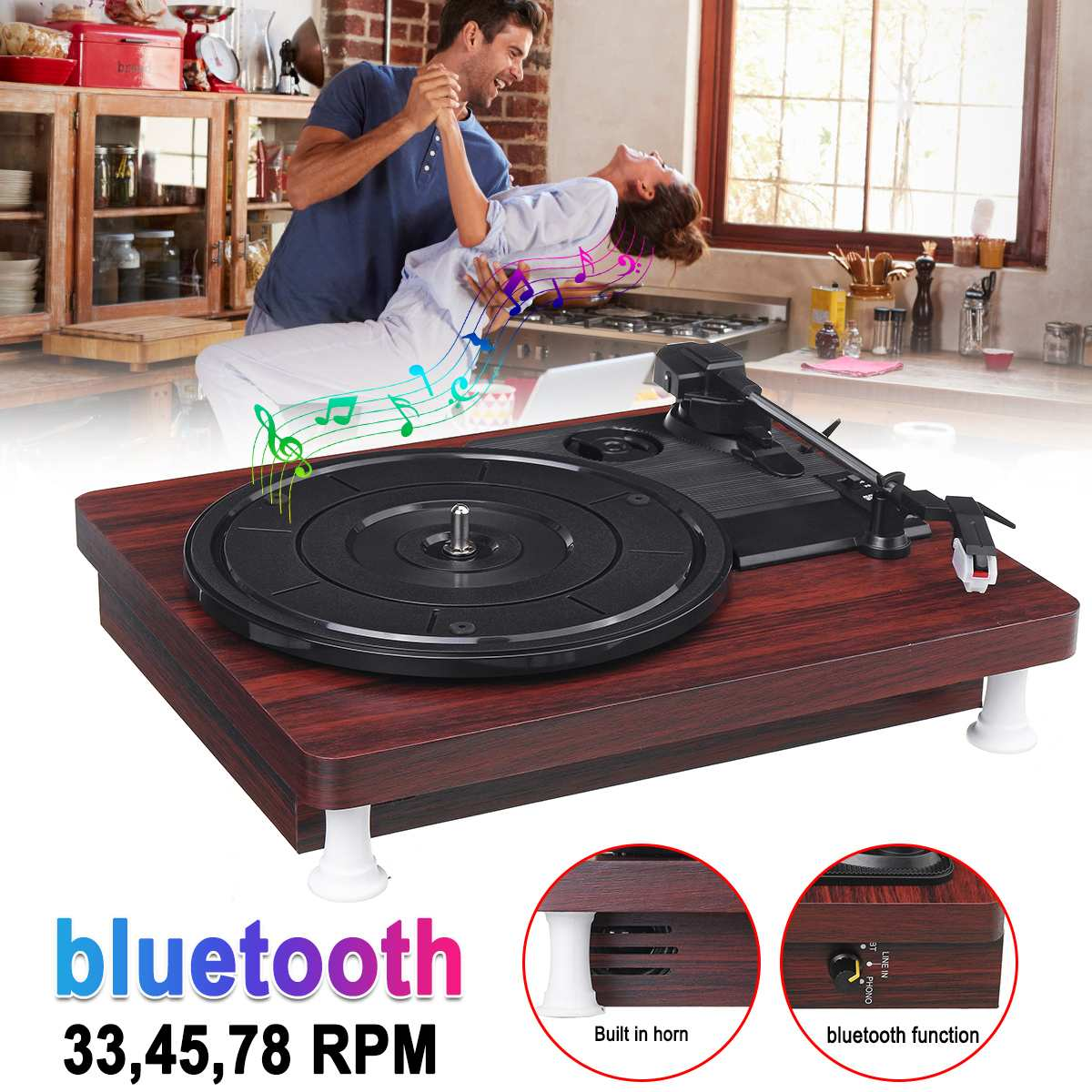 33, 45, 78 RPM LP Record Player Bluetooth Built-in Speakers Antique Gramophone Turntable Disc Vinyl Audio RCA