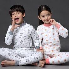 New 2019 Thermal Underwear for Children Boys Girls Thicken Warm Pajamas Set 100% Cotton Kids Winter
