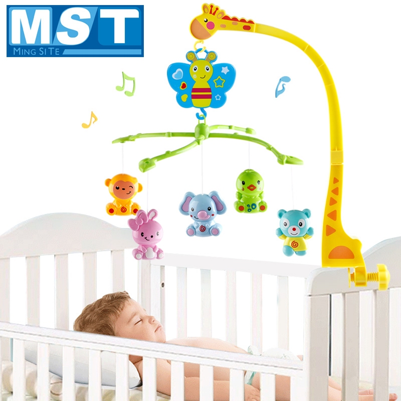 Baby Toys 0-12 Months 4 In 1 Musical Crib Mobile Bed Bell Animal Rabbit Rattle Rotating Bracket Giraffe Holder Wind-up Music Box