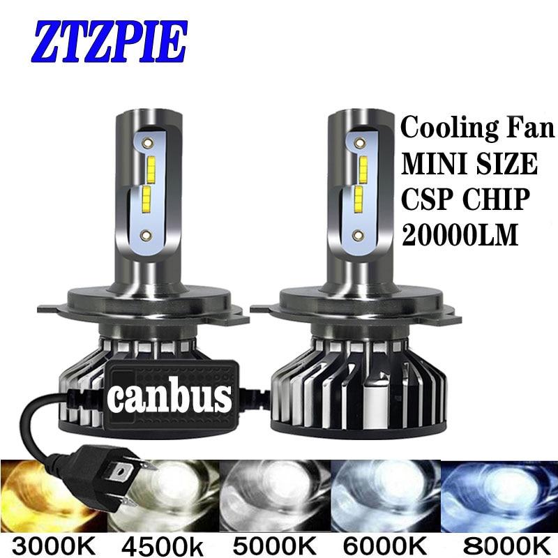 ZTZPIE 20000LM 4500K 6000K 8000K 3000K HB3 HB4 9005 9006 H3 H1 H8 H7 H4 H11 H9 9012 Turbo Canbus Светодиодные Автомобильные фары CSP чип 110W