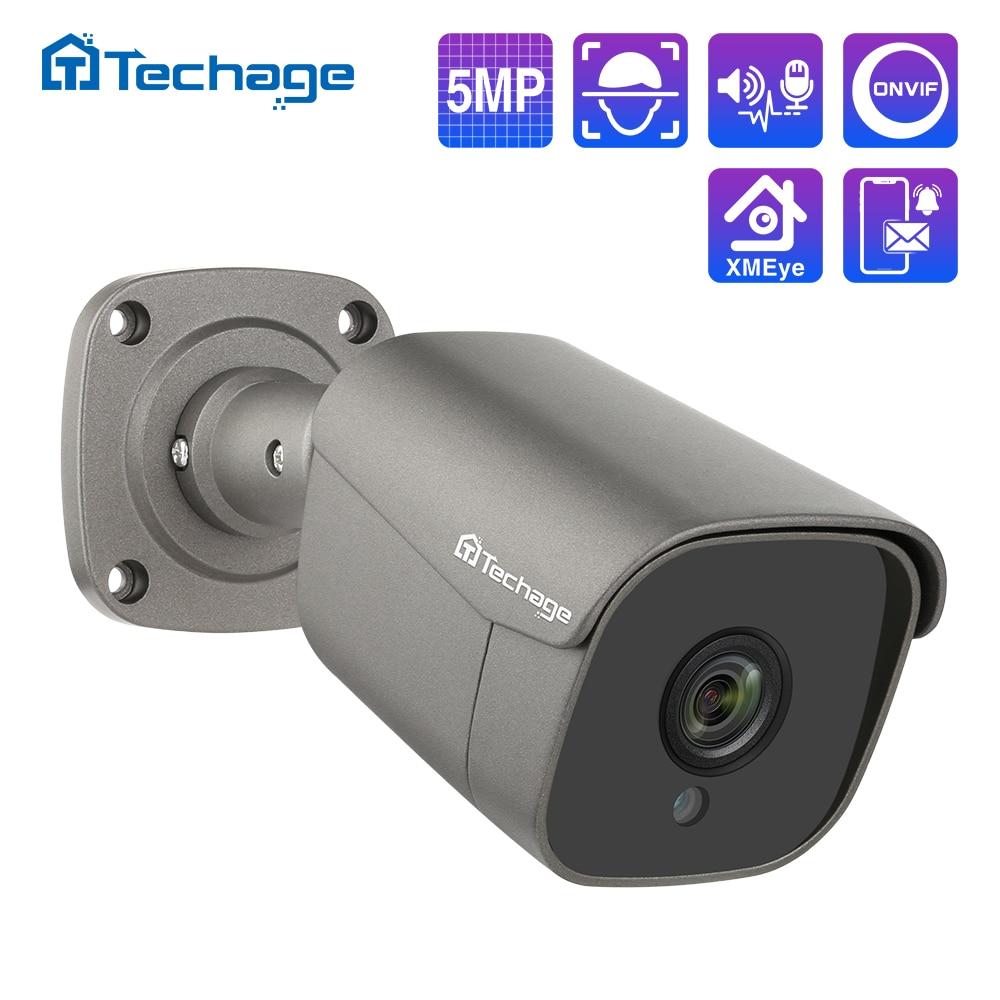 Techage H.265 5MP מלא HD אבטחת POE IP המצלמה שתי דרך אודיו AI מצלמה IR-CUT חיצוני מעקב וידאו עבור ONVIF NVR מערכת