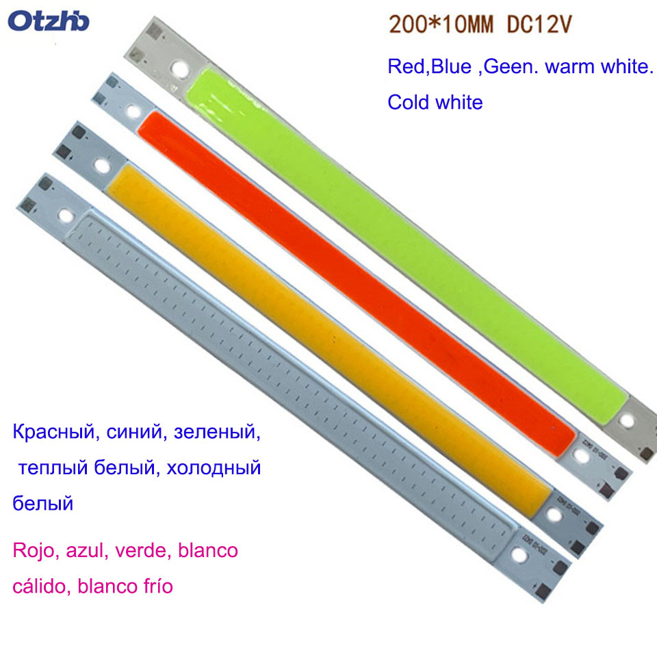 200x10MM 0422 <font><b>10W</b></font> <font><b>LED</b></font> Light COB Strip Lamp DC 12-14V 1000LM Green Yellow <font><b>Red</b></font> Blue Warm White Pure White Bar Light image