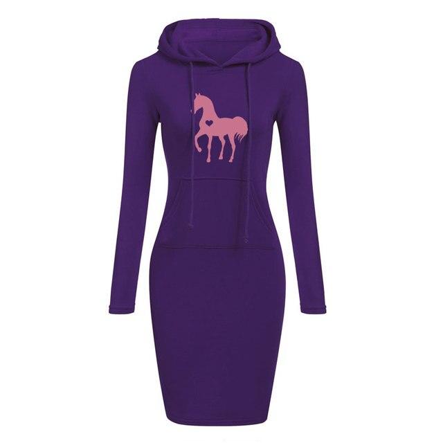 Women's Long Sleeve Dress With Equestrian Logo  4