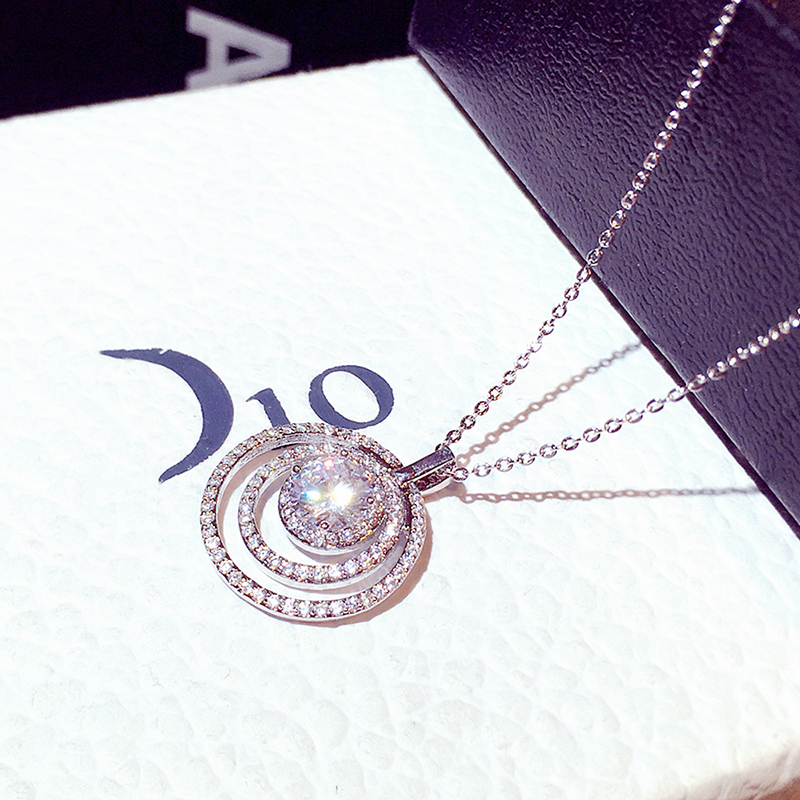 New Arrives Super Shine CZ Round Shape Women Necklace AAA Bling Zirconia Delicate Thin Chain for Bridal Wedding Jewelry Pendant