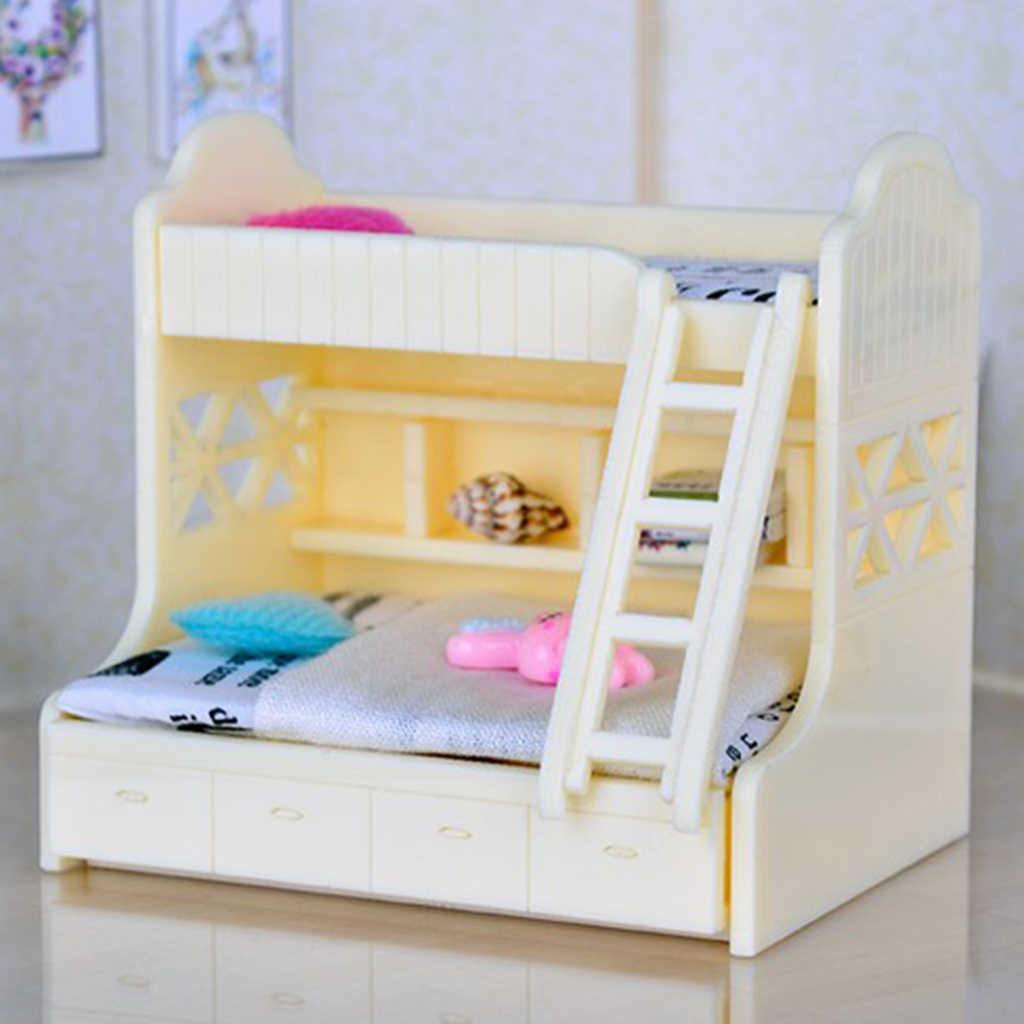 1 12 Dollhouse Miniature Furniture Bunk Bed Double Bunk Bedroom Accessory 1 Aliexpress