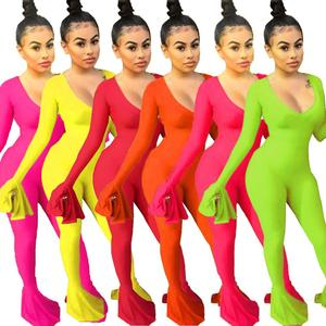 2019 Autumn women Elegant long Ruffles sleeve V-Neck bodycon Jumpsuit Cute Sexy Club Party Romper playsuit outfit GLHY5101