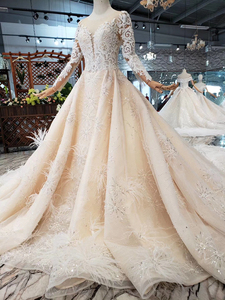 Image 3 - BGW HT43022 Royal Wedding Dress With Feather Handmade European And American Style Tulle Sleeve Wedding Gown 2020 Fashion Design