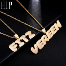 Hip Hop Custom Name Zircon Iced Out Bubble Letters Chain Pendants&Necklaces For Men Jewelry Rope Cuban Tennis Chain(China)