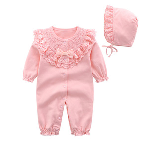 Image 2 - ملابس للأطفال حديثي الولادة من القطن مع ربطة رومبير مع طقم برنات للأطفال حقيبة نوم باللون الأبيض والوردي بشكل عام ملابس للأطفال حديثي الولادة ملابس للأطفال حديثي الولادة 3 متر 6 متر 9 متر 1t هدية
