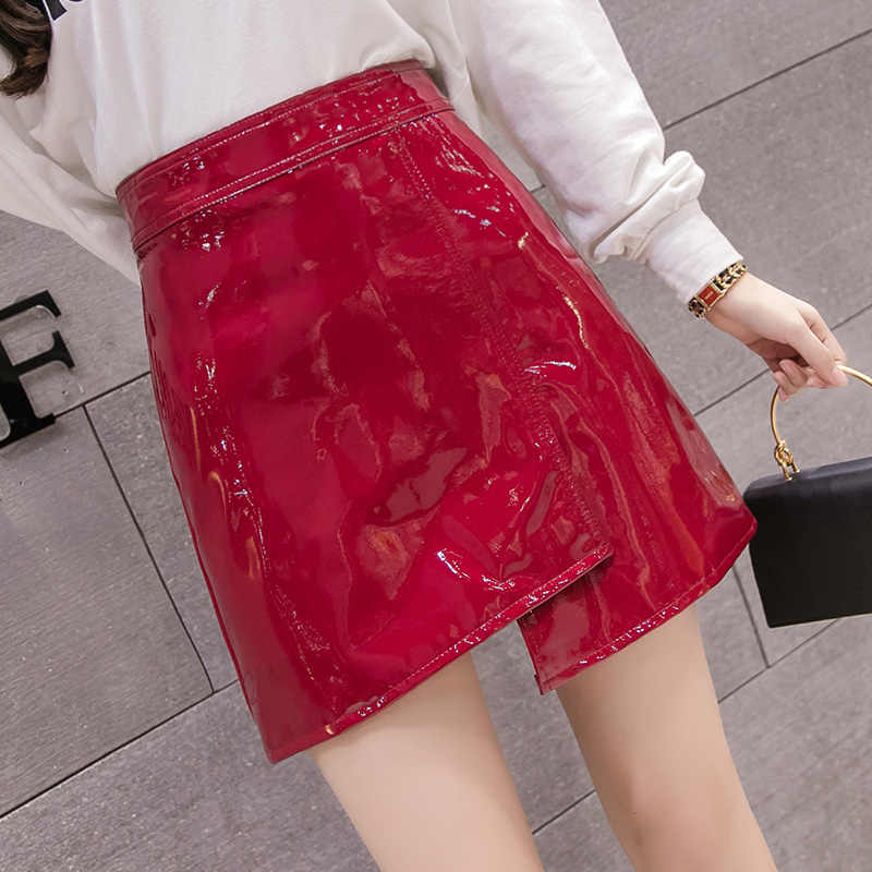 Womens Skirt Mini Skirts Leather Clothing Black Pencil 2019 Fashion Winter High Waist Wrap Harajuku Bodycon Vintage Streetwear