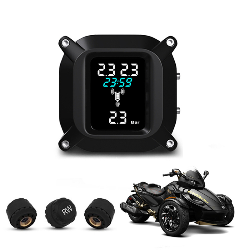 Smart Motorcycle TPMS Trikes Tire Pressure Monitor System Auto Security Alarm Systems Tyre Pressure Warning for 3 Wheelers