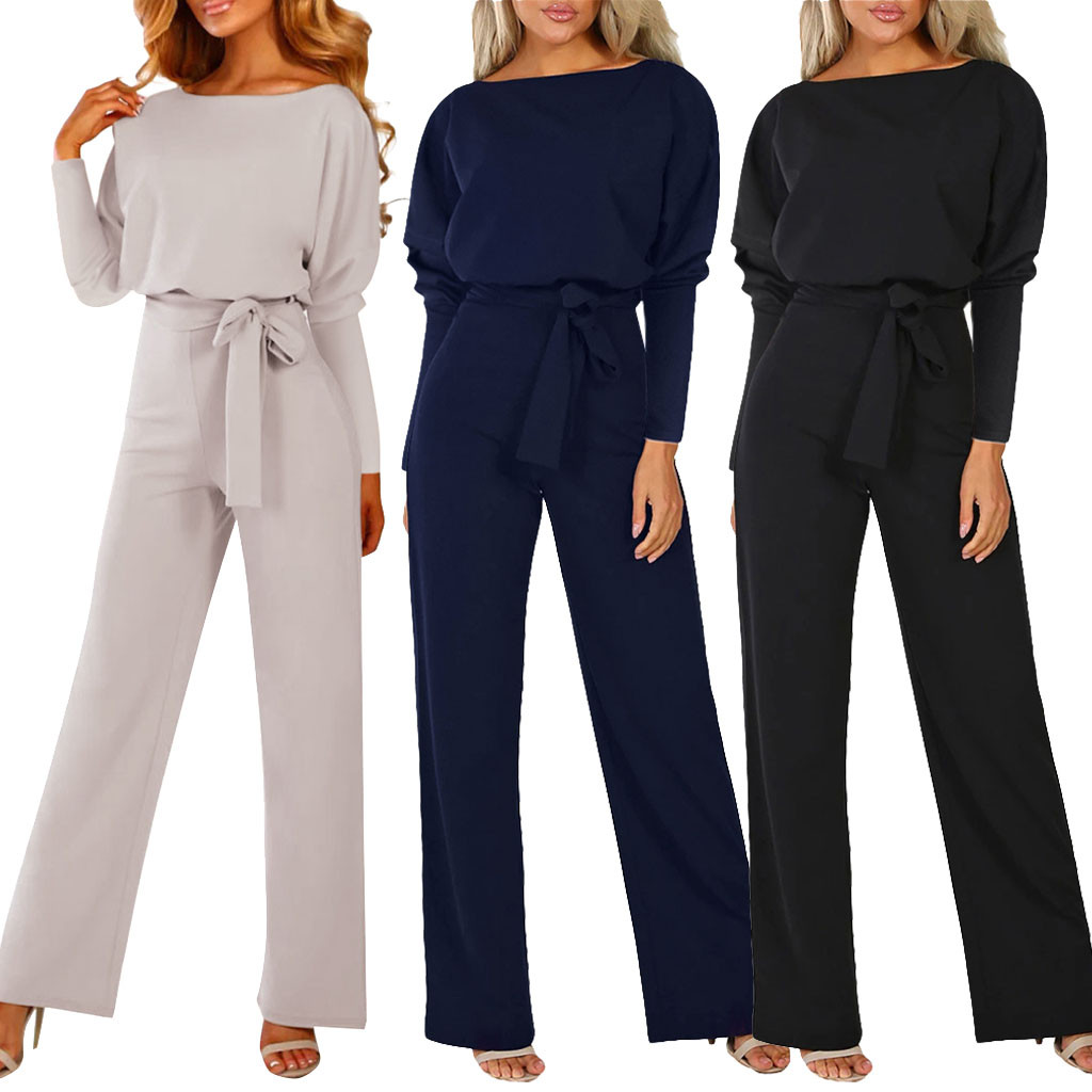 Long Sleeve Jumpsuit Women Lace Up Casual 2019 Autumn Winter Jumpsuit Romper Elegant Office Loose Bodysuit Black Ladies Overalls