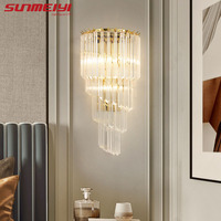 Minimalist Wall Lamps Crystal Gold Indoor Light For Living Room Bedroom Bedside Wall Light Nordic Porch LED Sconce lampara pared