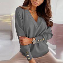 2021 bahar kadın bluzlar ofis bayan moda katı uzun kollu Dámská Košile düğmesi dip gömlek v yaka Mujer Tops # t3g