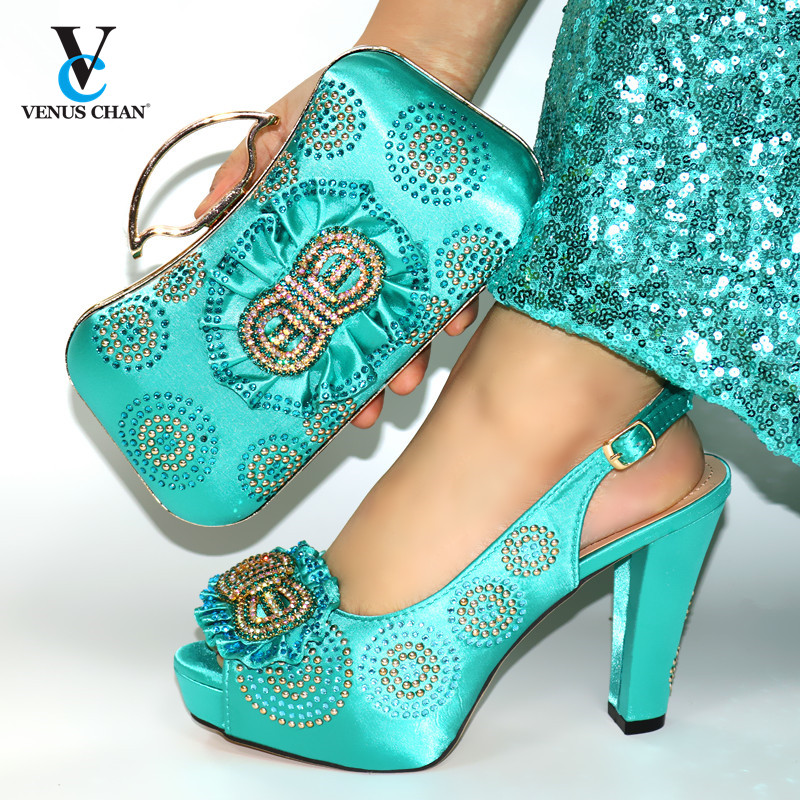 2020 New Design Dark Green Italian Women Shoes and Bag to Match African Style Matching Shoes and Bag Set for Party