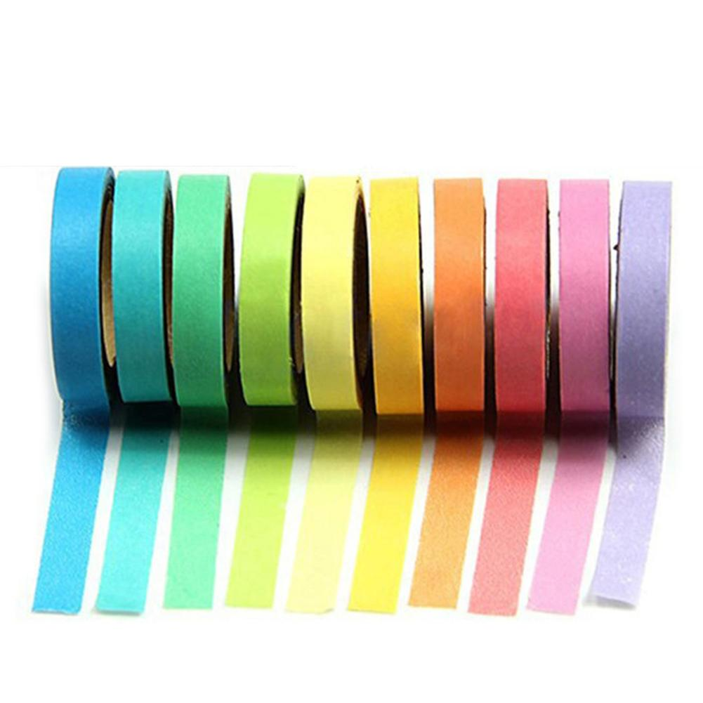 <font><b>10</b></font> <font><b>Pcs</b></font> 5m Mini Multicolor Lange <font><b>DIY</b></font> Klebrige Papier Selbst Klebe <font><b>Rolle</b></font> Tapes Set image
