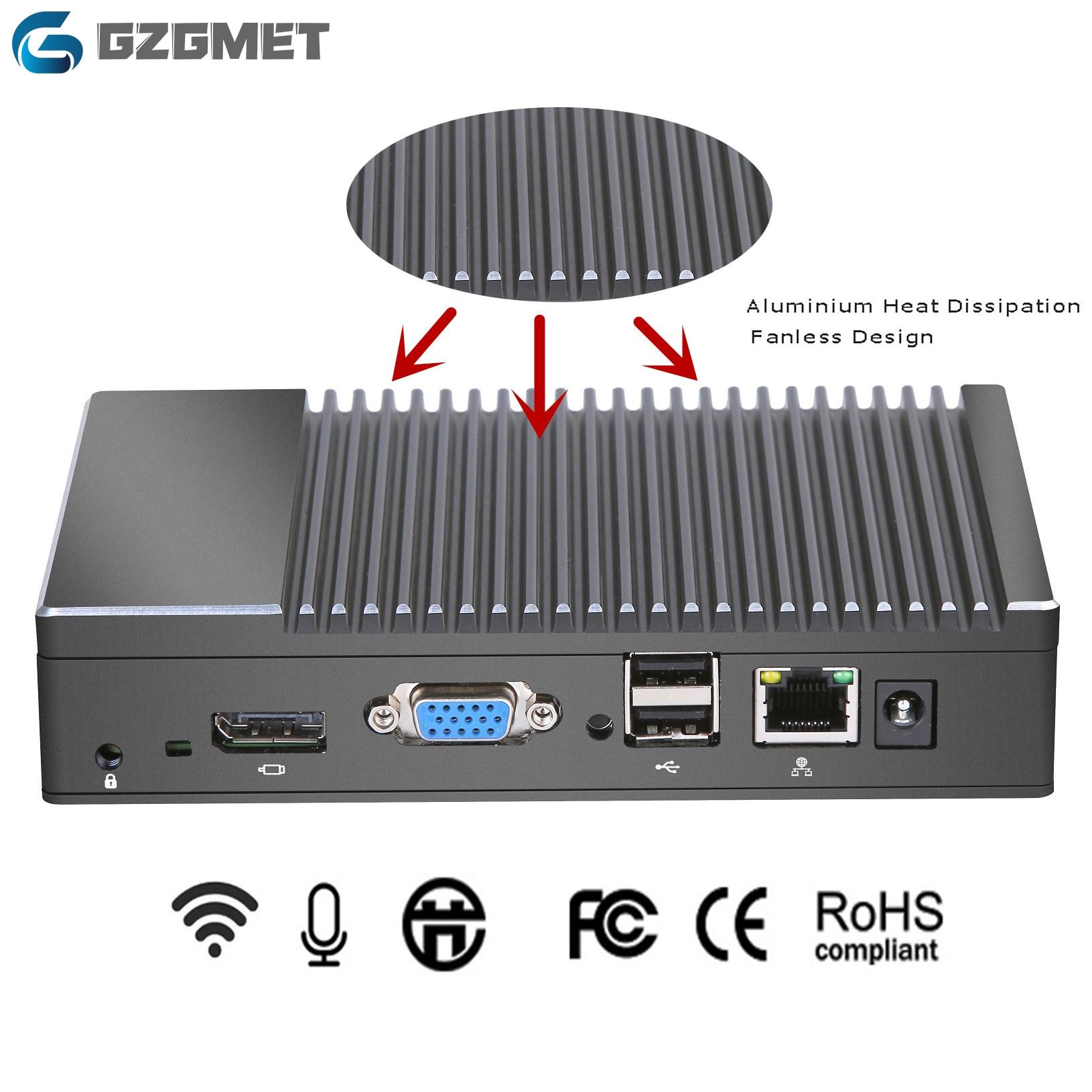 2019 New Metal Case Mini Pc Windows 10 AMD Quad Core X86 Fanless Small Size SSD  Wifi Bluetooth VGA HDMI Computer