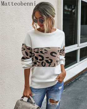 Winter women's long-sleeve knitted sweater pullover loose round neck sweater leopard round neck pullover women's sweater 2020 khaki splited design round neck irregular sweater