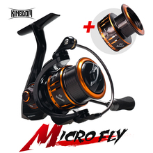 цена на Kingdom MICRO FLY Spinning Fishing Reel 800 1000 2000 3000 Light Spool jigging Bait Reel Freshwater and Saltwater Spinning Reels