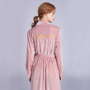 Image 5 - Sonbahar yeni kadın kadife elbise gelinlik pijama nakış gelinlik hırka elbise nedime gecelik pijama