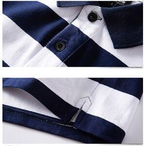 Image 3 - الرجال قميص بولو الصيف الرجال عادية تنفس حجم كبير 5XL 6XL مخطط قميص بولو بكم قصير قميص بولو القطن الخالص موضة الرجال الملابس