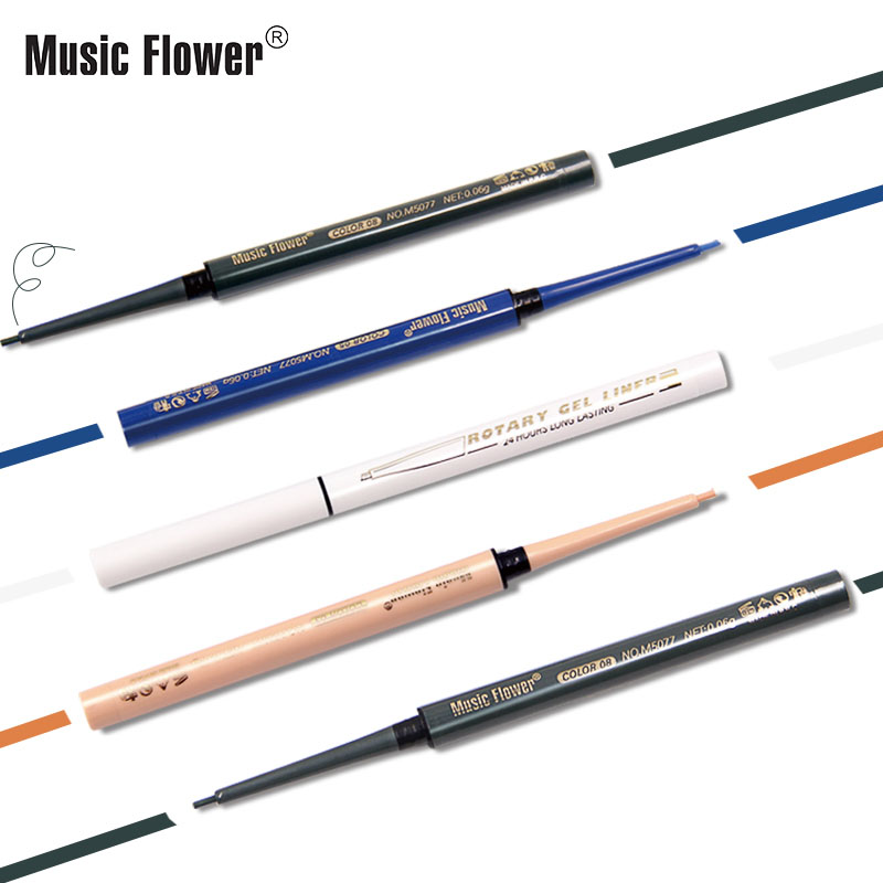 Music flower eyeliner pencil 13 colors white green blue black waterproof long lasting rotary matte gel eyeliner MU022