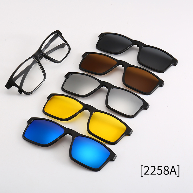 Square Night Vision Polarized <font><b>Sunglasses</b></font> <font><b>5</b></font> <font><b>In</b></font> <font><b>1</b></font> Magnetic Clip On Glasses Optical Prescription image