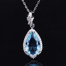 Collar de Colgante de Topacio de Plata de Ley 925 con gemas, joyería fina de lujo con piedras preciosas, para mujeres