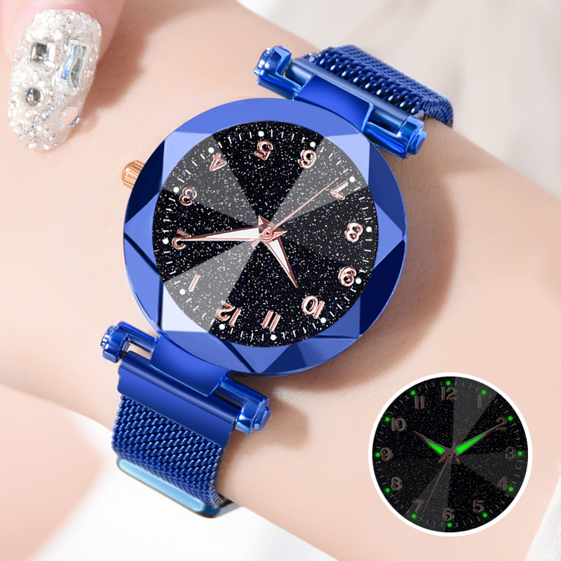 2020 Women Blue Watches Luminous Hands Starry Sky Watches Women's Quartz Magnet Watches Wholesale Price Dropshipping Best Gift