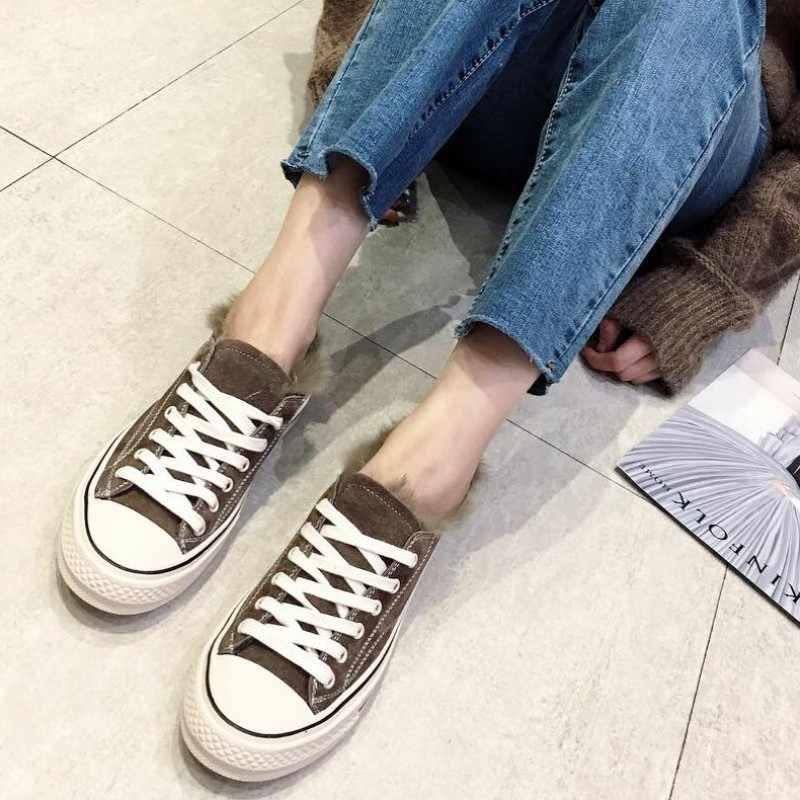 Kadınlar Flats Casual ayakkabı kış polar astar sıcak ayakkabı tiki tarzı kürk kanvas ayakkabılar Streetwear Chaussures Femme kızlar ayakkabı