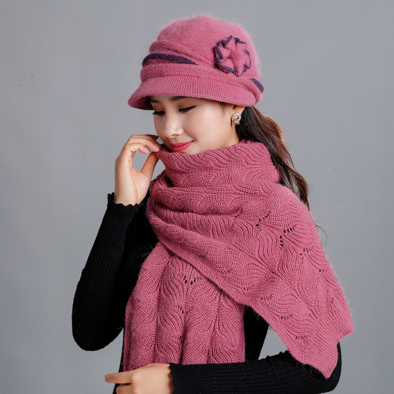 Winter Mother Hat Rabbit Fur Knitted Wool Hat Female Winter Middle-aged Thick Warm Plush Hat Female Grandma Scarf Set