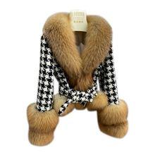 Women's short lattice Splicing Silver fox hair Palace luxury Fashion fur Overcoat female Fur cardigan