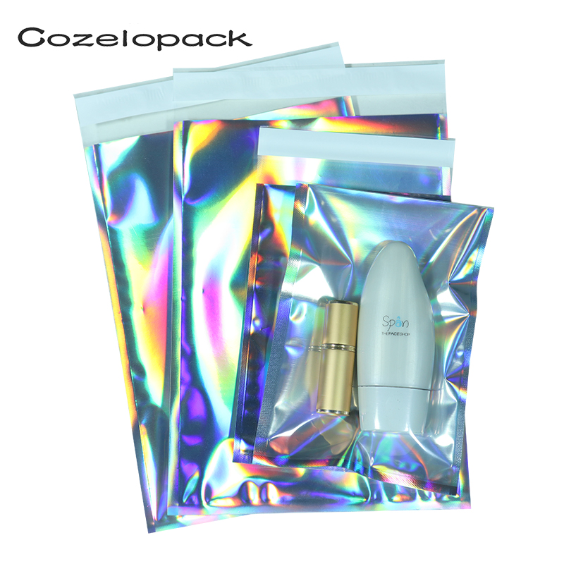 10pcs Laser Self Sealing Poly Envelopes Mailing Storage Bags Holographic Gift Jewelry With Self Sealing Courier Packaging Bags