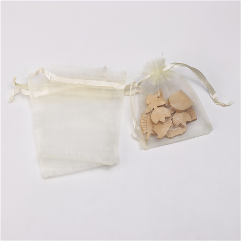 DoreenBeads Organza Jewelry Bags Drawstring Rectangle Pale Yellow Packing Package (Usable Space: 7x7cm) 9cm X 7cm, 5 PCs